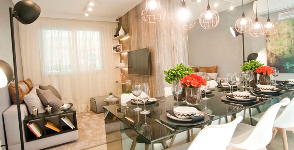 LIVING do apto de 40 m² do Plano&Cursino