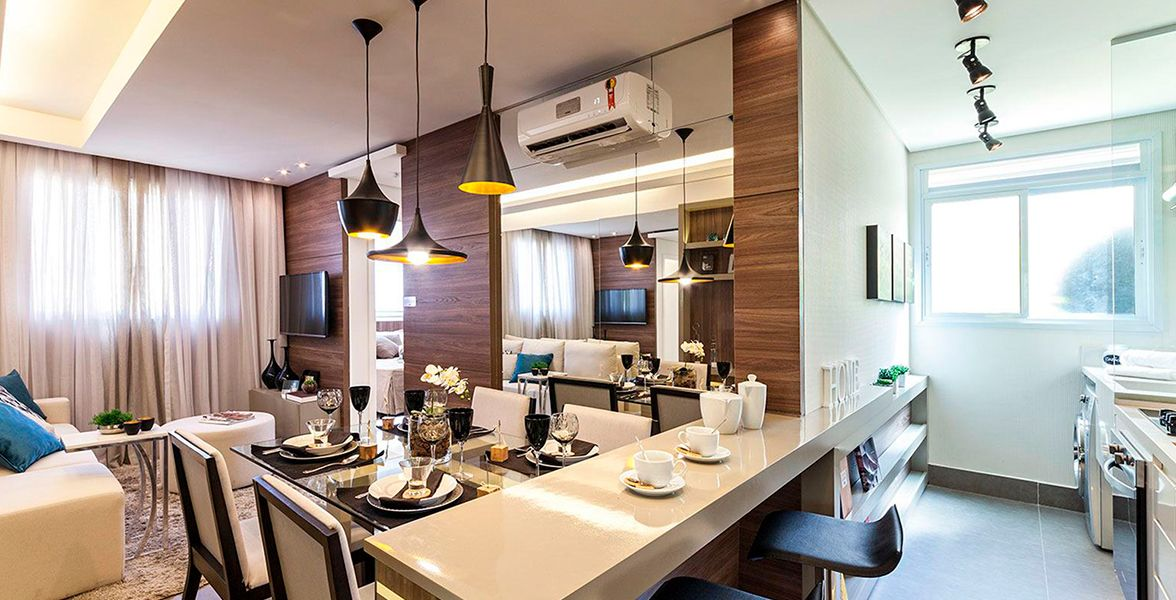 LIVING E COZINHA do apto de 45 m².