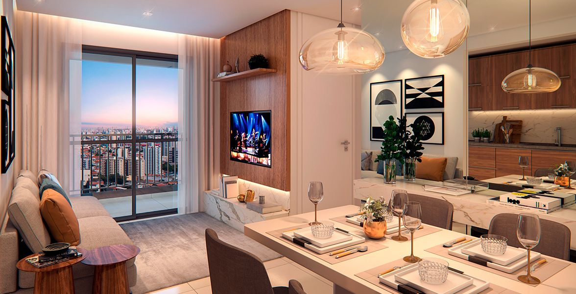 LIVING do apto de 55 m².