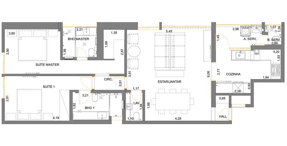 Planta do Edifício Ibirá. floorplan