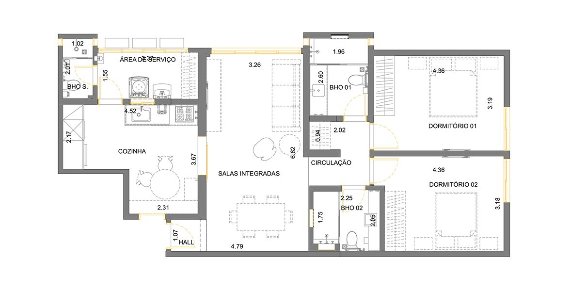 Planta do Edifício La Stezia. 100 M² - 2 DORMS., SENDO 1 SUÍTE.