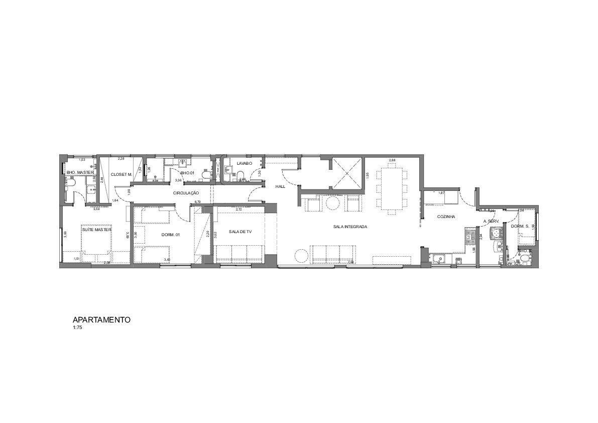 164 M² - 2 DORMITÓRIOS, SENDO 1 SUÍTE. (Apartamento 21, 2º andar).