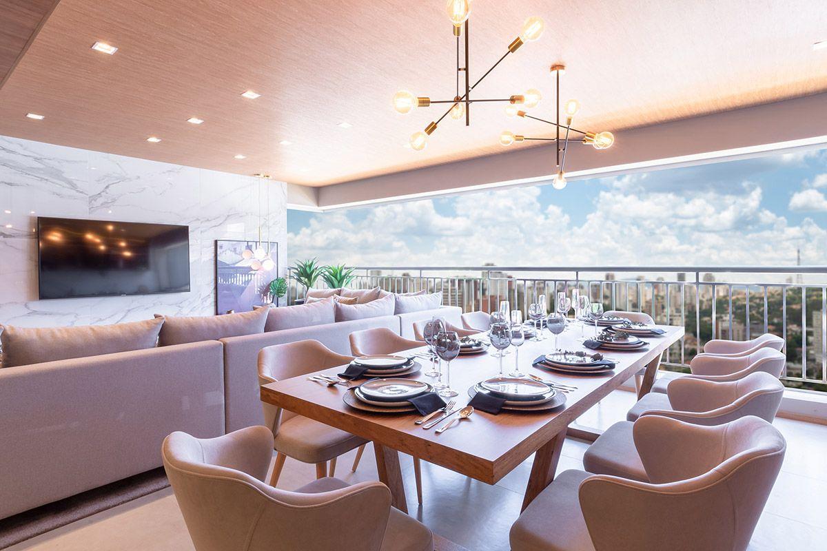 TERRAÇO gourmet traz ainda mais amplitude e luz ao living.