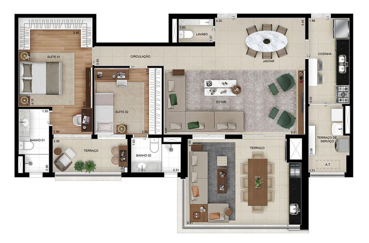Planta do High Mooca. 129 M² - 2 SUÍTES. Apartamento na Mooca com living ampliado e terraço gourmet espaçoso, ótimo para receber amigos!