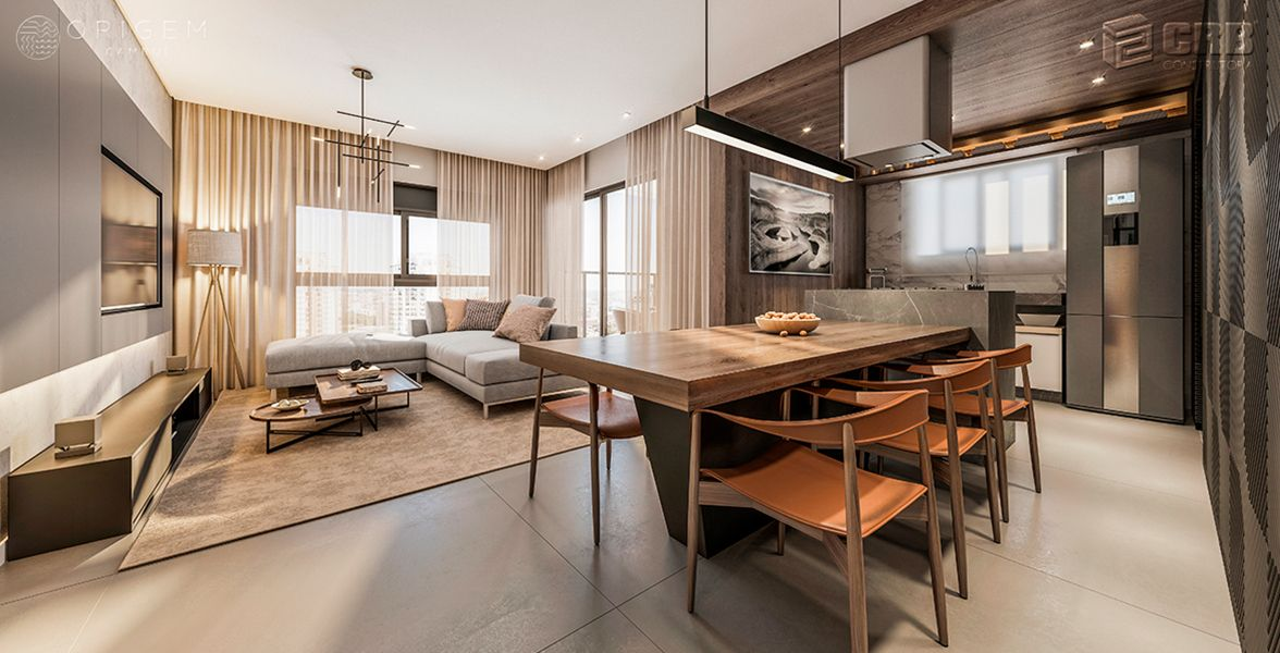LIVING do apto de 120 m² do Origem Cambuí