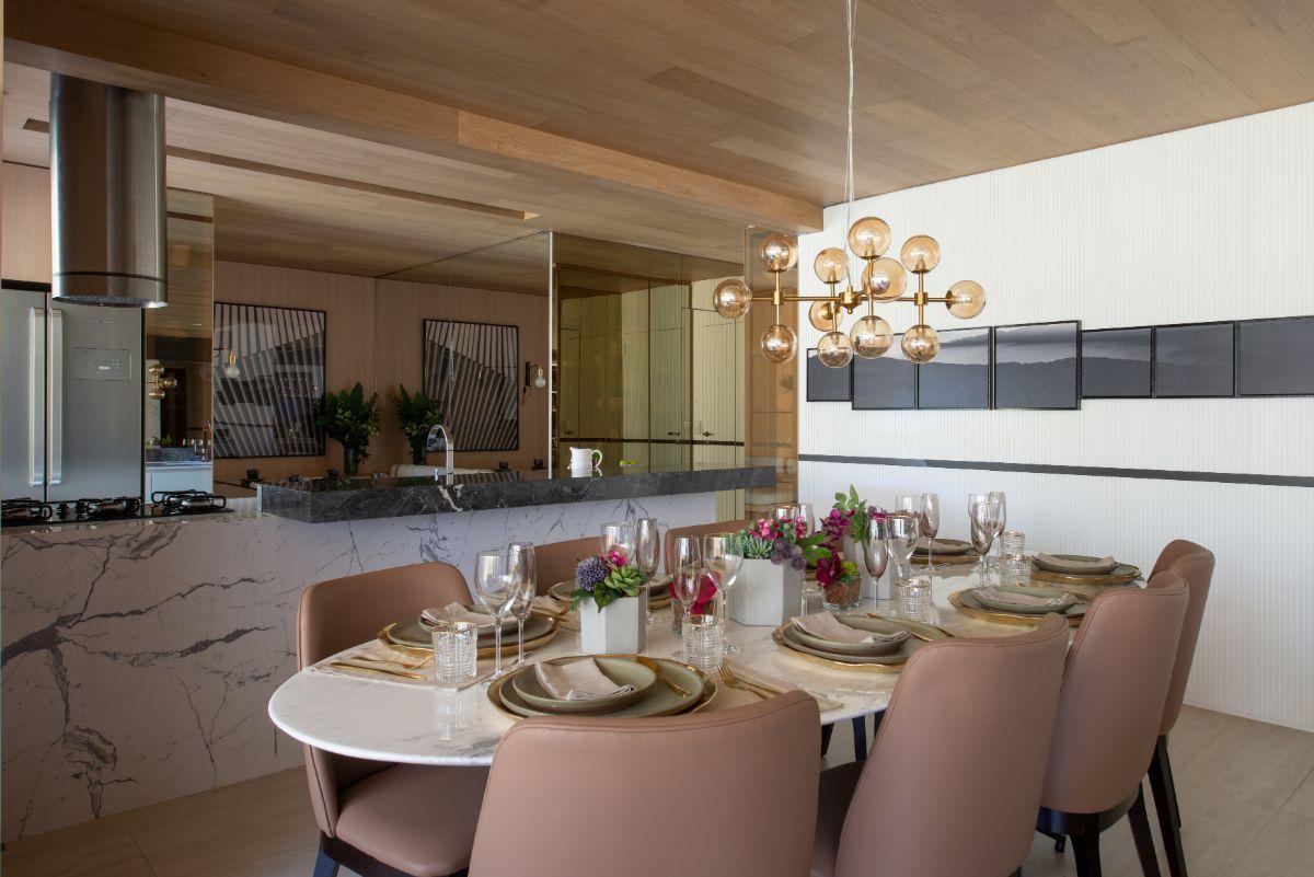 LIVING e COZINHA do apto de 145 m².