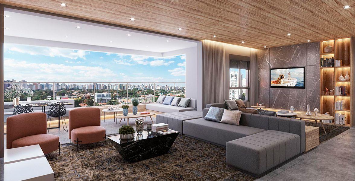 LIVING AMPLIADO do apto de 186 m², tem piso nivelado com o terraço, além de infraestrutura para o terraço do Seletto Campo Belo