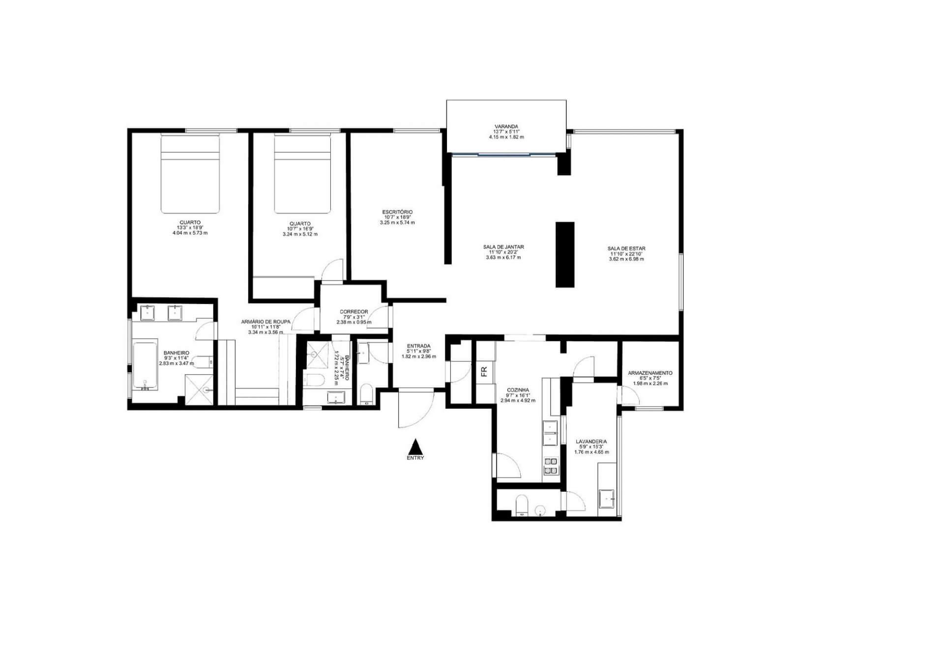 206 M² - 2 QUARTOS, SENDO 1 SUÍTE. (Apartamento 401, 4º andar).