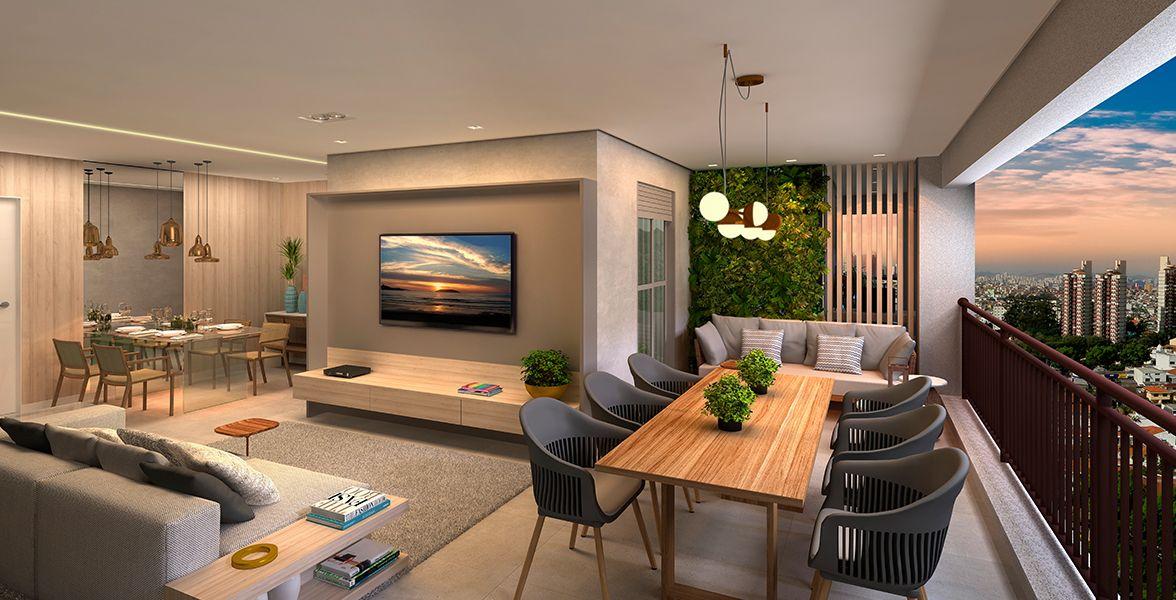TERRAÇO E LIVING do apto de 110 m² do Colina 103
