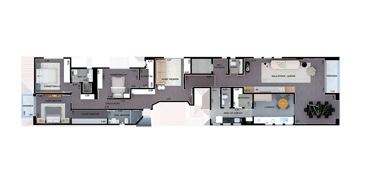 Planta do Edifício Porto Fino. floorplan
