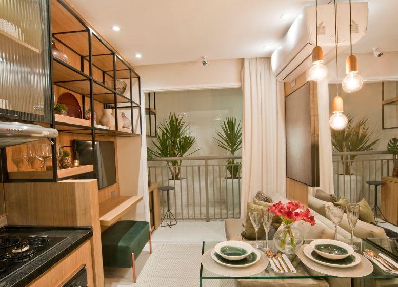 SALA do apto de 28 m² do Plano&Penha I.