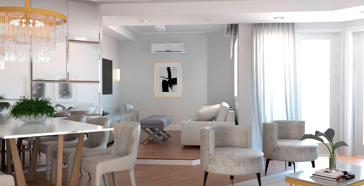 LIVING do apto de 133 m² do 19º andar.