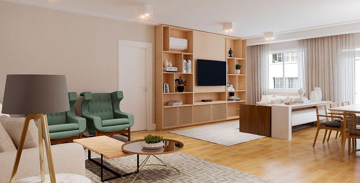 LIVING do apto de 114 m² no 11º andar do Edifício Bader Game