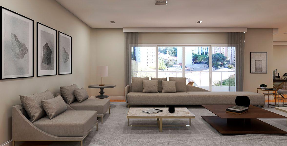 LIVING do apto de 293 m² no 8º andar.
