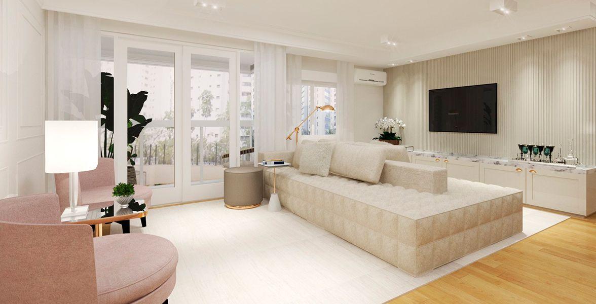 LIVING do apto de 95 m² no 1º andar.