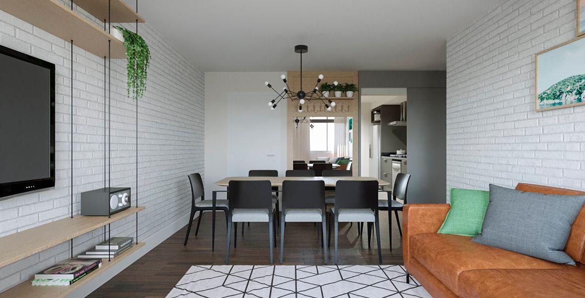 LIVING do apto de 115 m² no 25º andar.