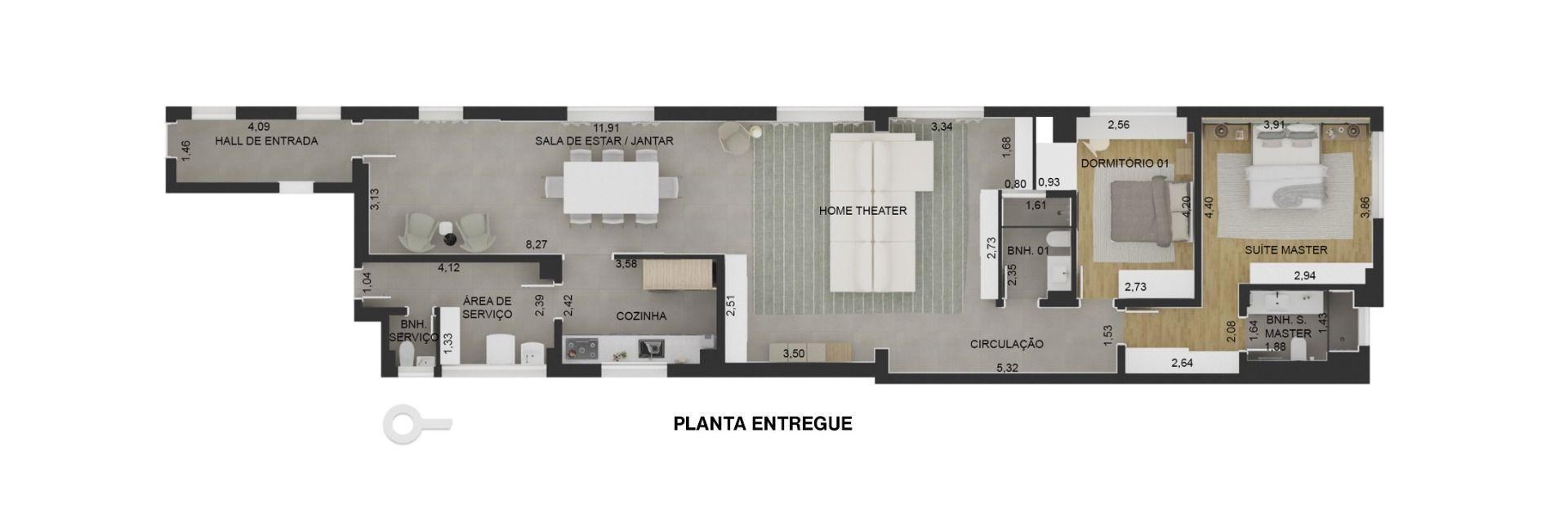 138 M² - 2 DORMITÓRIOS, SENDO 1 SUÍTE. (Apartamento 81, 8º andar).