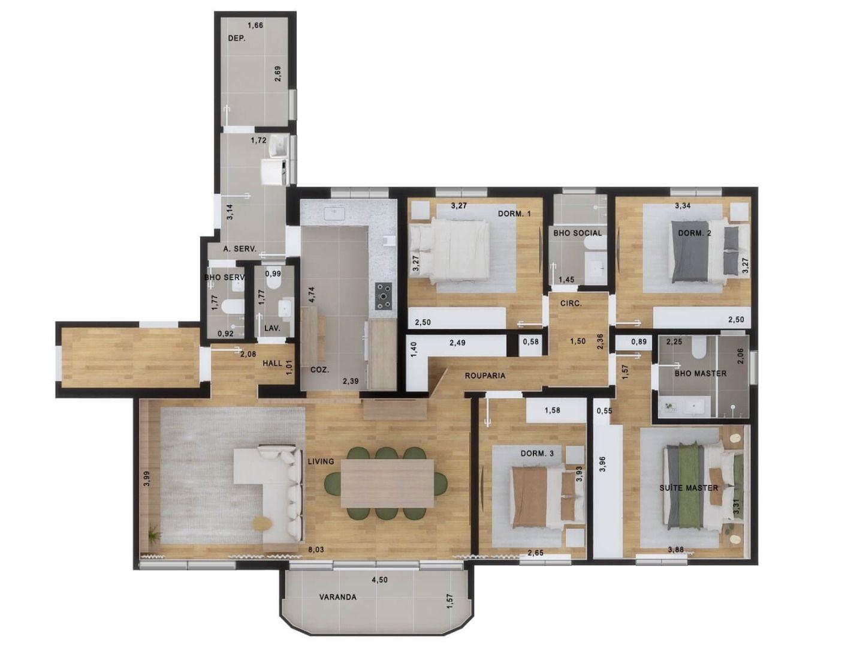152 M² - 3 DORMITÓRIOS, SENDO 1 SUÍTE.  (Apartamento 152, 15º andar).