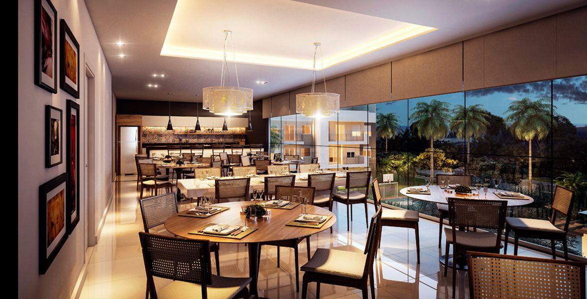 SALÃO DE FESTAS E ESPAÇO GOURMET com cozinha equipada e copa adicional para eventos.