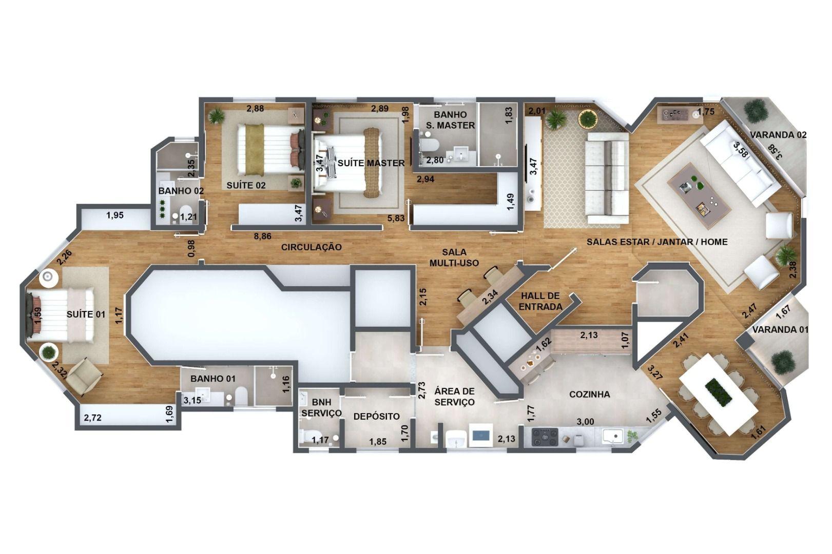 168 M² - 3 SUÍTES. (Apartamento 121, 12º andar).