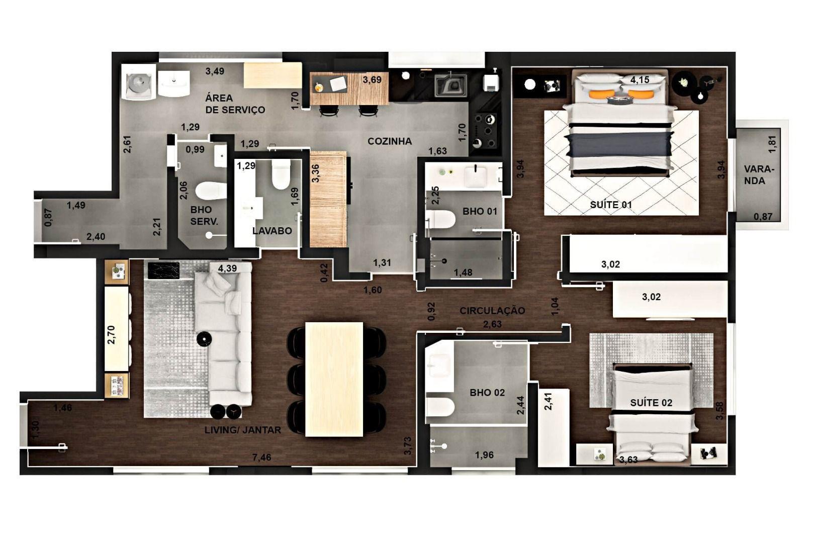 106 M² - 2 SUÍTES. (Apartamento 81, 8º andar).
