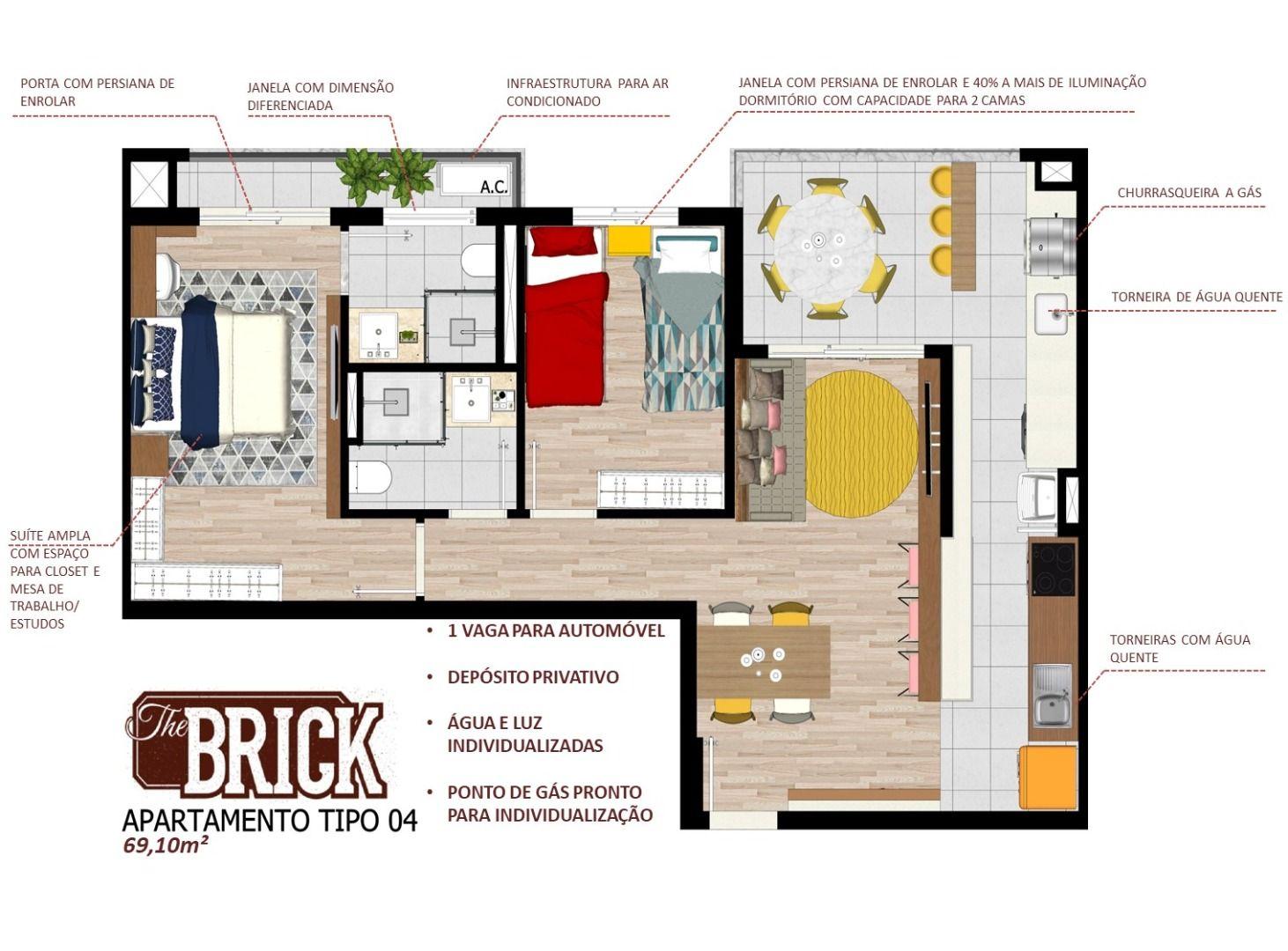 Planta do The Brick. 69 M² - 2 DORMITÓRIOS, SENDO 1 SUÍTE. Apartamentos na Vila Augusta com destaque para as amplas janelas que proporcionam até 40% a mais de iluminação.
