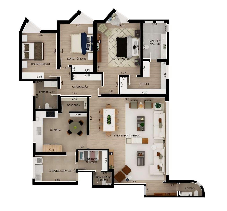 201 M² - 3 DORMITÓRIOS, SENDO1 SUÍTE. (Apartamento 92, 9º andar).
