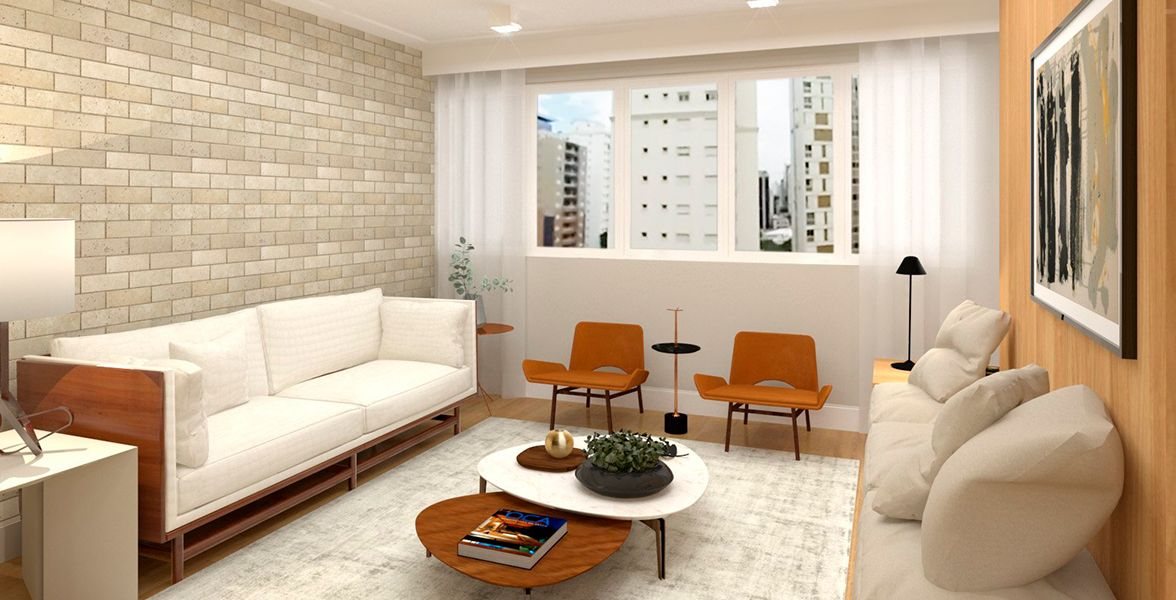 LIVING do apto de 110 m² no 10º andar.