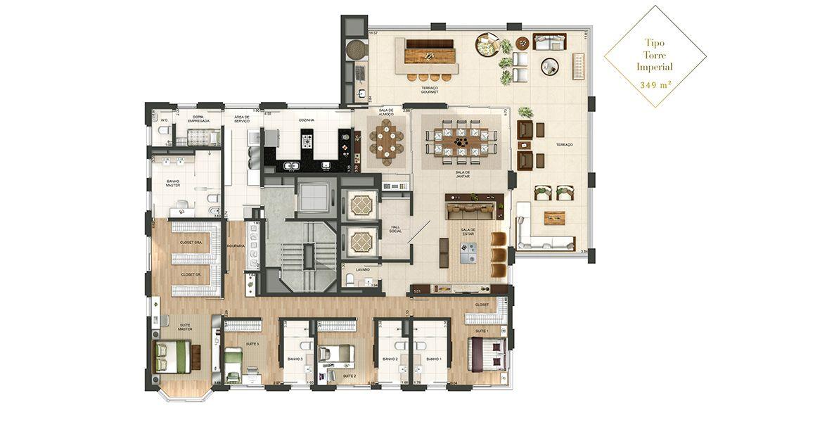 349 M² - 4 SUÍTES. Apartamentos com dois elevadores sociais privativos. Destaque para a suíte master com Bay Window, proporcionando grande luminosidade. Todos os banheiros possuem ventilação natural.