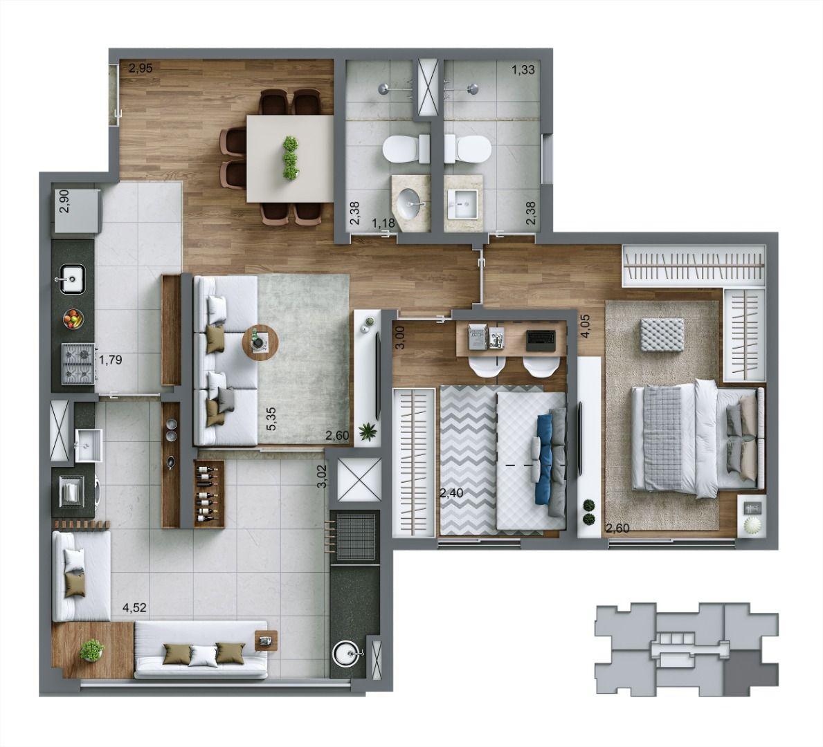 Planta do Living Infinity. floorplan