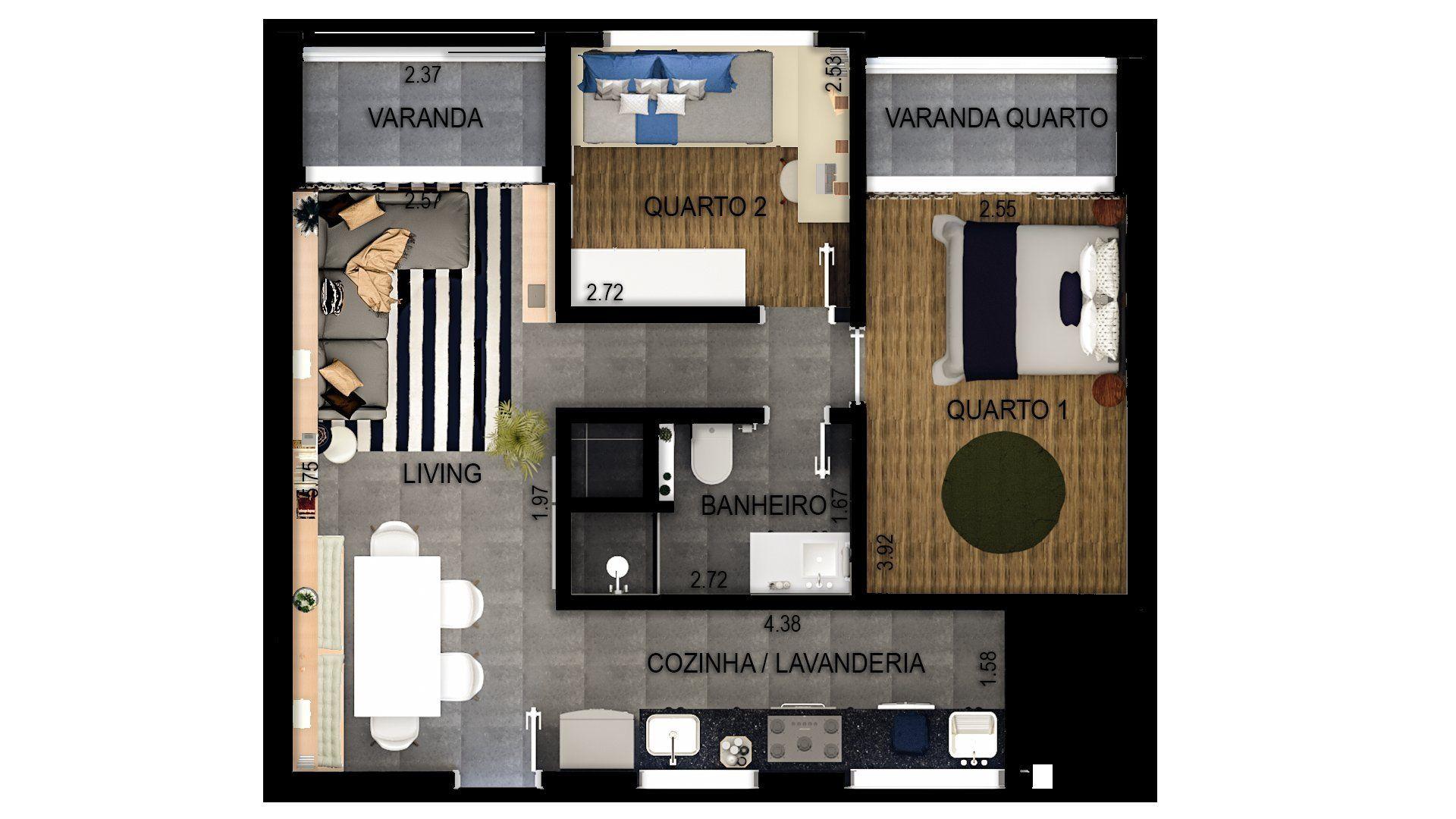 55 M² - 2 DORMITÓRIOS. (Apartamento 53, 5º andar).