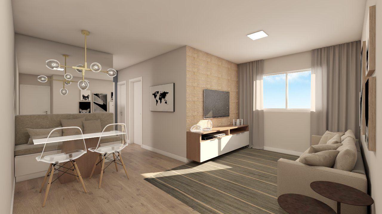 LIVING do apto de 57 m² no 4º andar.