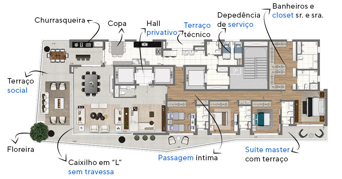 """339 M² - 4 SUÍTES. Apartamentos no Paraíso com mais de 90 m² de área social. O caixilho em """"L"""", sem travessa, possibilita integração total do living com o terraço em duas laterais, proporcionando muito espaço para receber os amigos!"""
