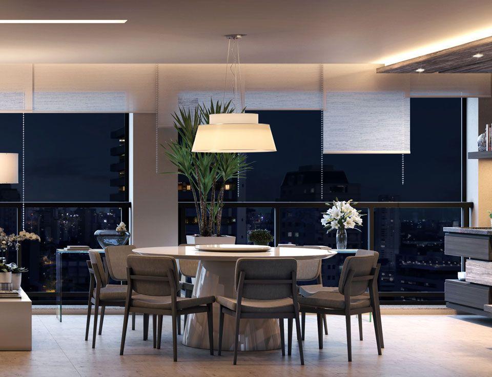 LIVING do apto de 133 m² com capacidade para 12 lugares. Faz integração com o terraço gourmet com churrasqueira e bancada de apoio.