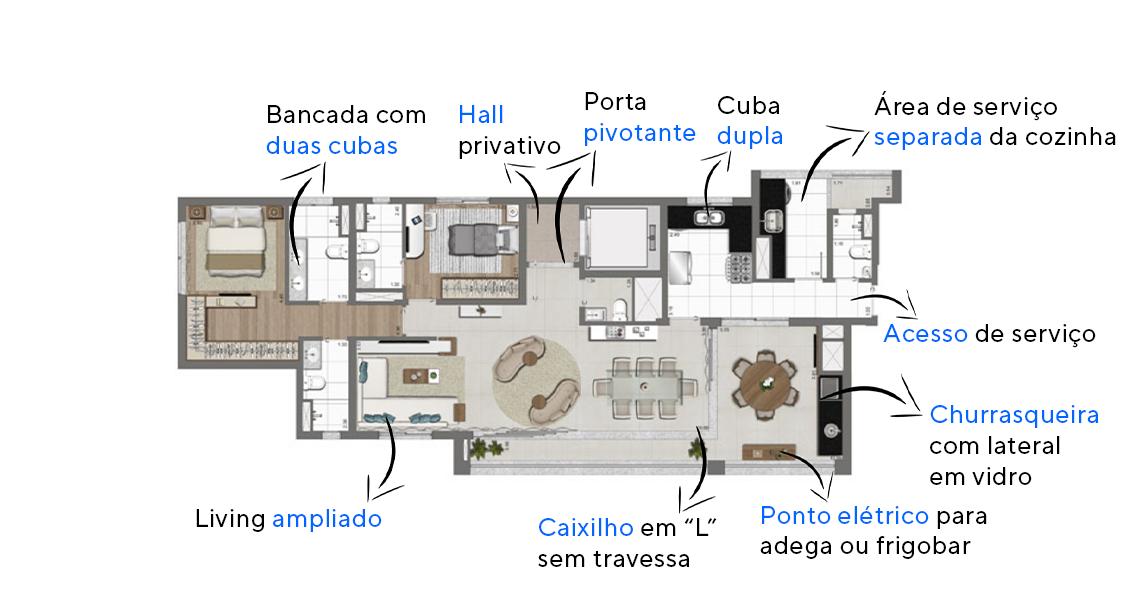 133 M² - 2 SUÍTES. Apartamentos no Jadins com hall social privativo e ampla área social. O terraço gourmet conta com churrasqueira com fechamento lateral em vidro e coifa aparente preta.