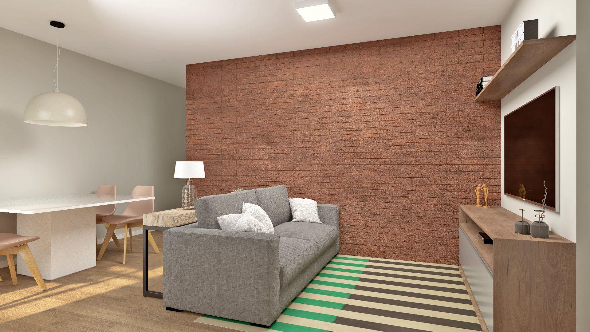 LIVING do apto de 60 m² no 12º andar.