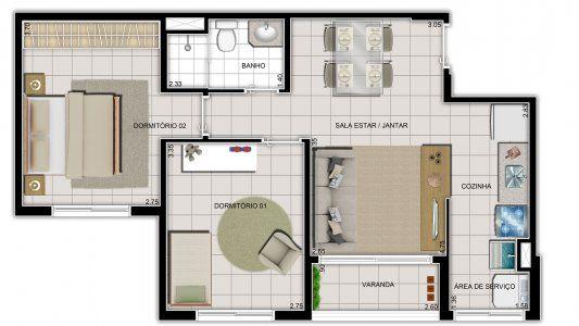 Planta do Vite Condominium. floorplan