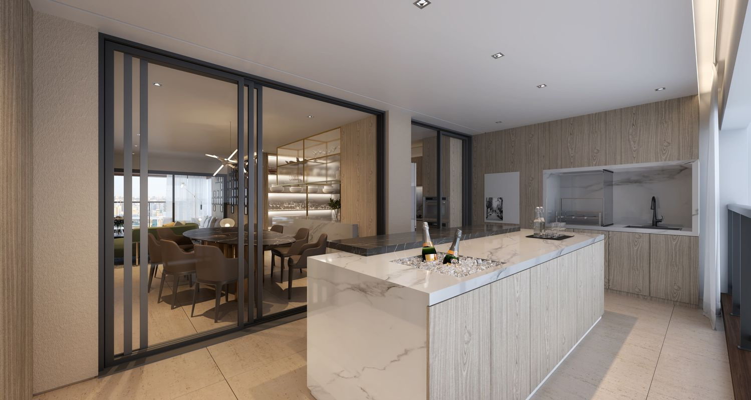 TERRAÇO GOURMET com churrasqueira do apto de 232 m².