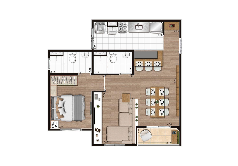 Planta do New City Three. floorplan