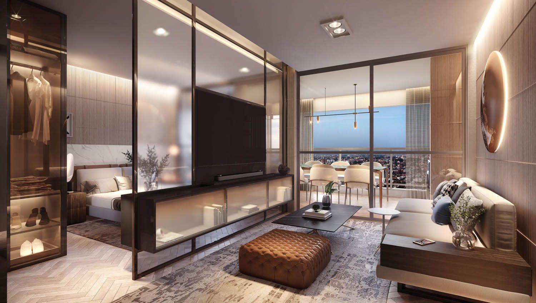 LIVING do apto de 44 m².