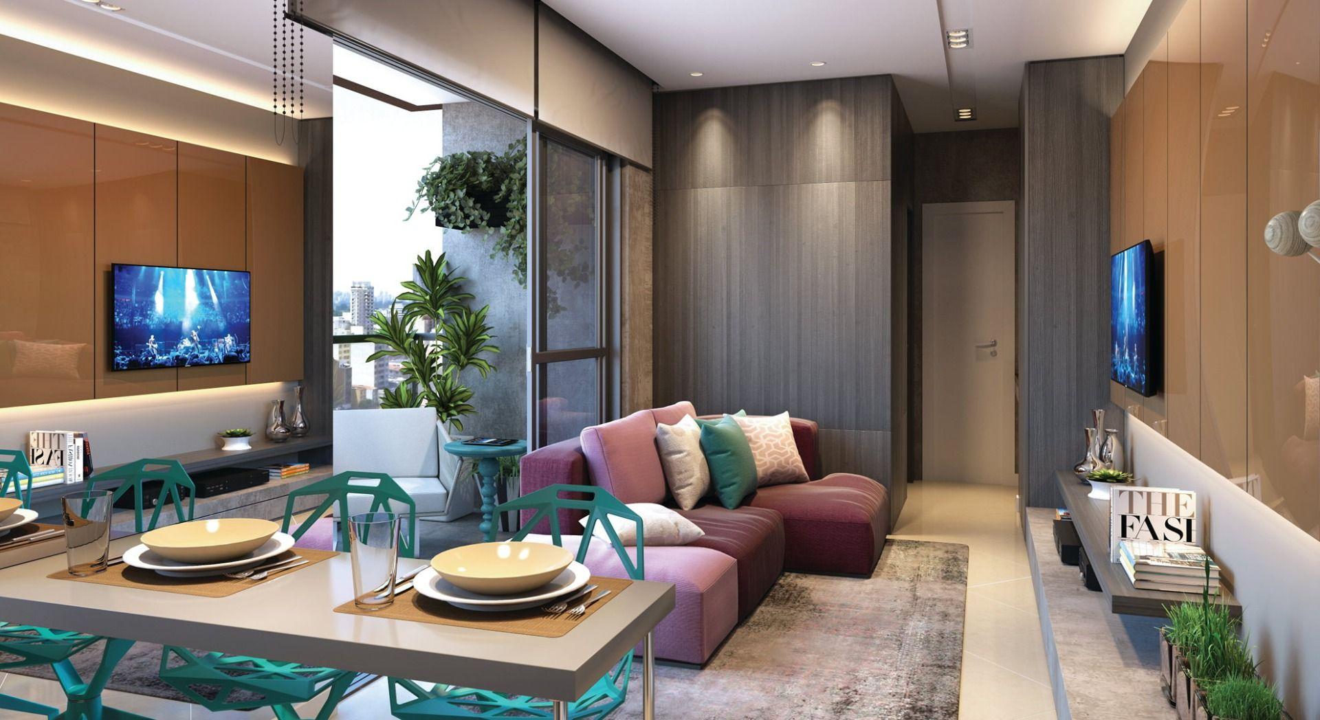 LIVING do apto de 43 m².