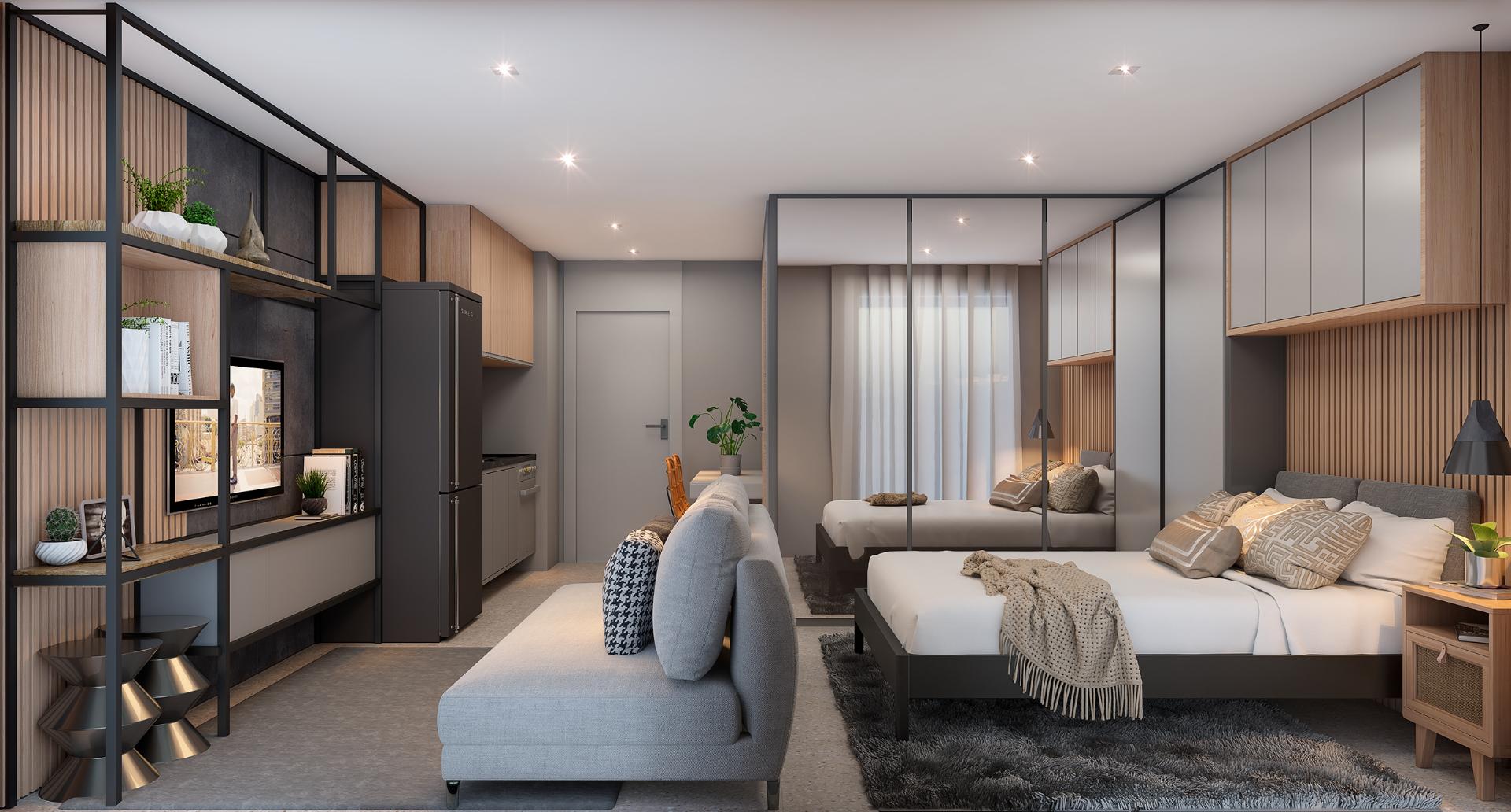 LIVING do apto de 37 m².