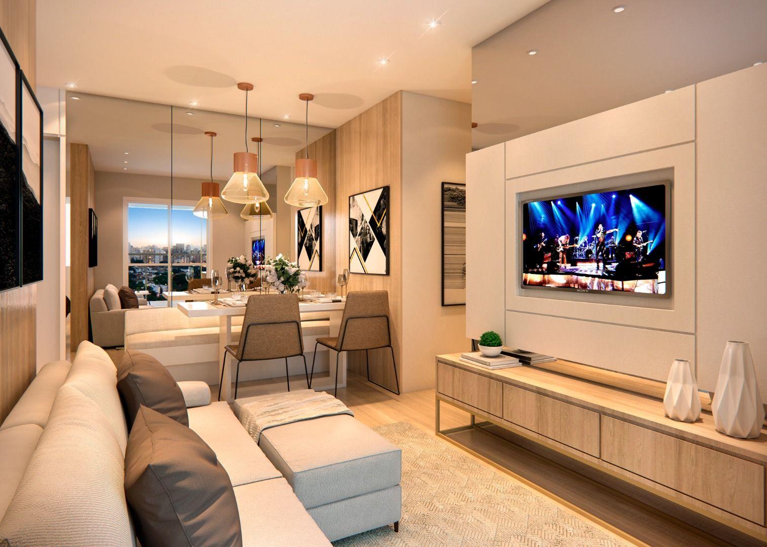 LIVING do apto de 50m² integrado ao living. Possui terraço de serviço com ampla abertura, proporcionando entrada de ventilação natural.