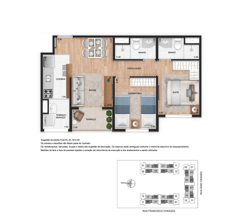 50 M² - 2 DORMITÓRIOS, SENDO 1 SUÍTE. Apartamentos na Barra Funda com terraço de serviço separado da cozinha e terraço social integrado ao living.