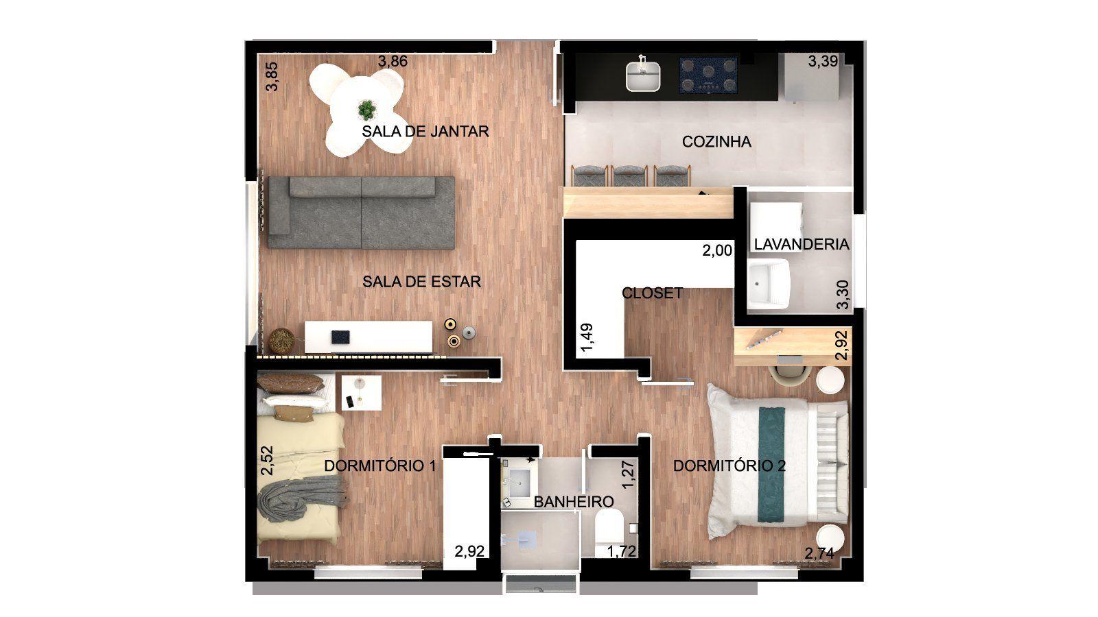 54 M² - 2 DORMITÓRIOS. (Apartamento 203, 20º andar).