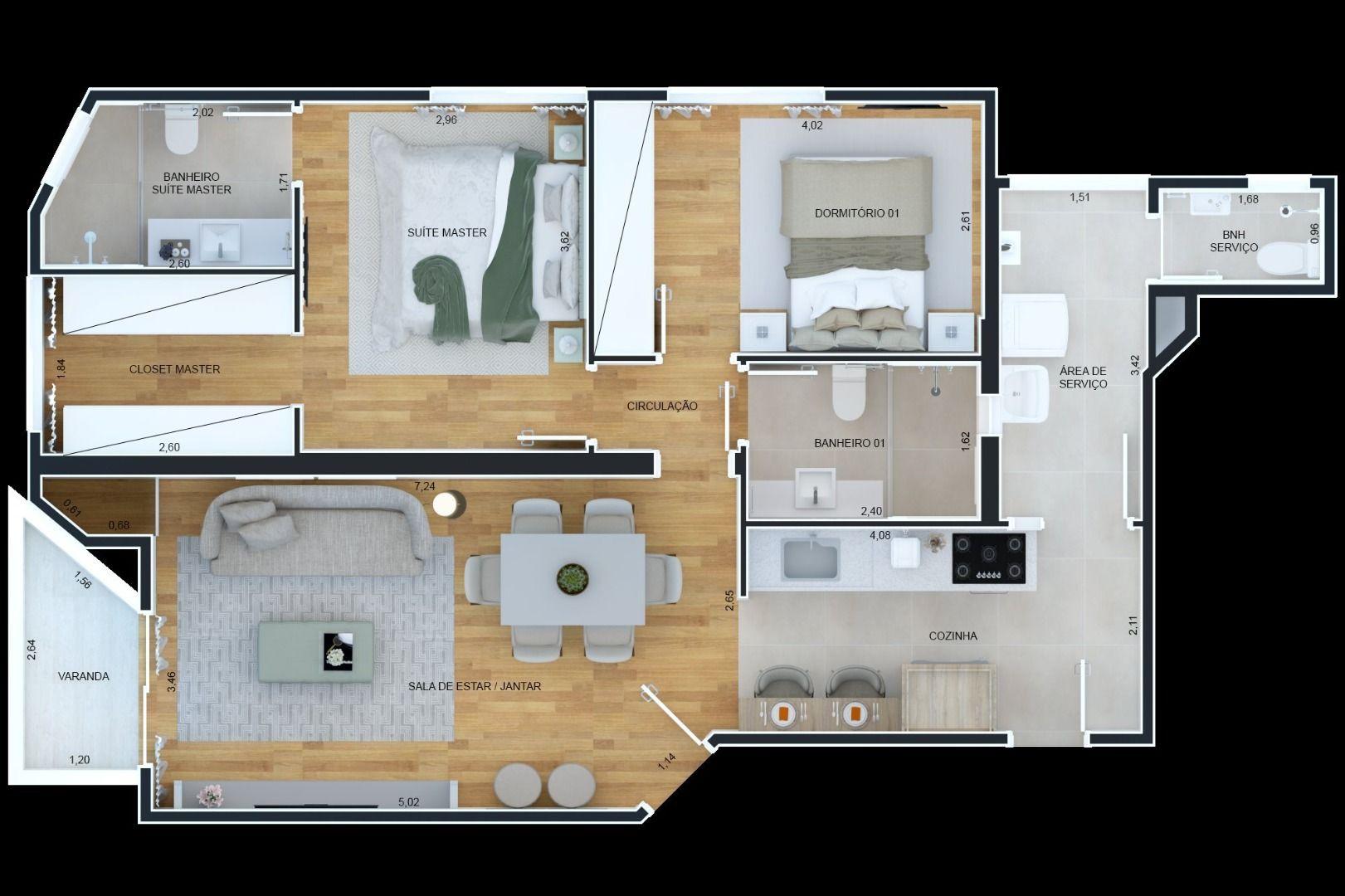 90 M² - 2 DORMITÓRIOS, SENDO 1 SUÍTE.  (Apartamento 44, 3º andar).