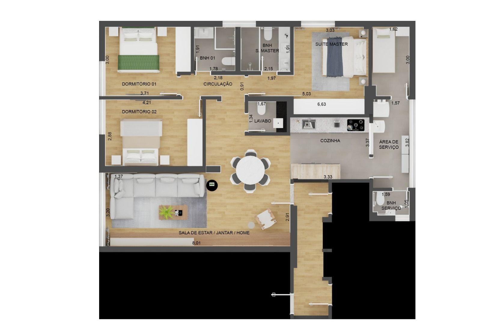 120 M² - 3 DORMITÓRIOS, SENDO 1 SUÍTE. (Apartamento 131, 13º andar).