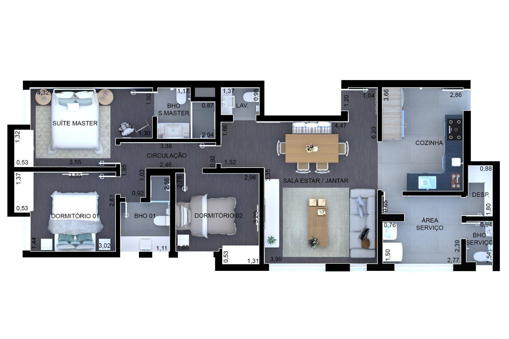 101 M² - 3 DORMITÓRIOS, SENDO 1 SUÍTE. (Apartamento 54, 5º andar).