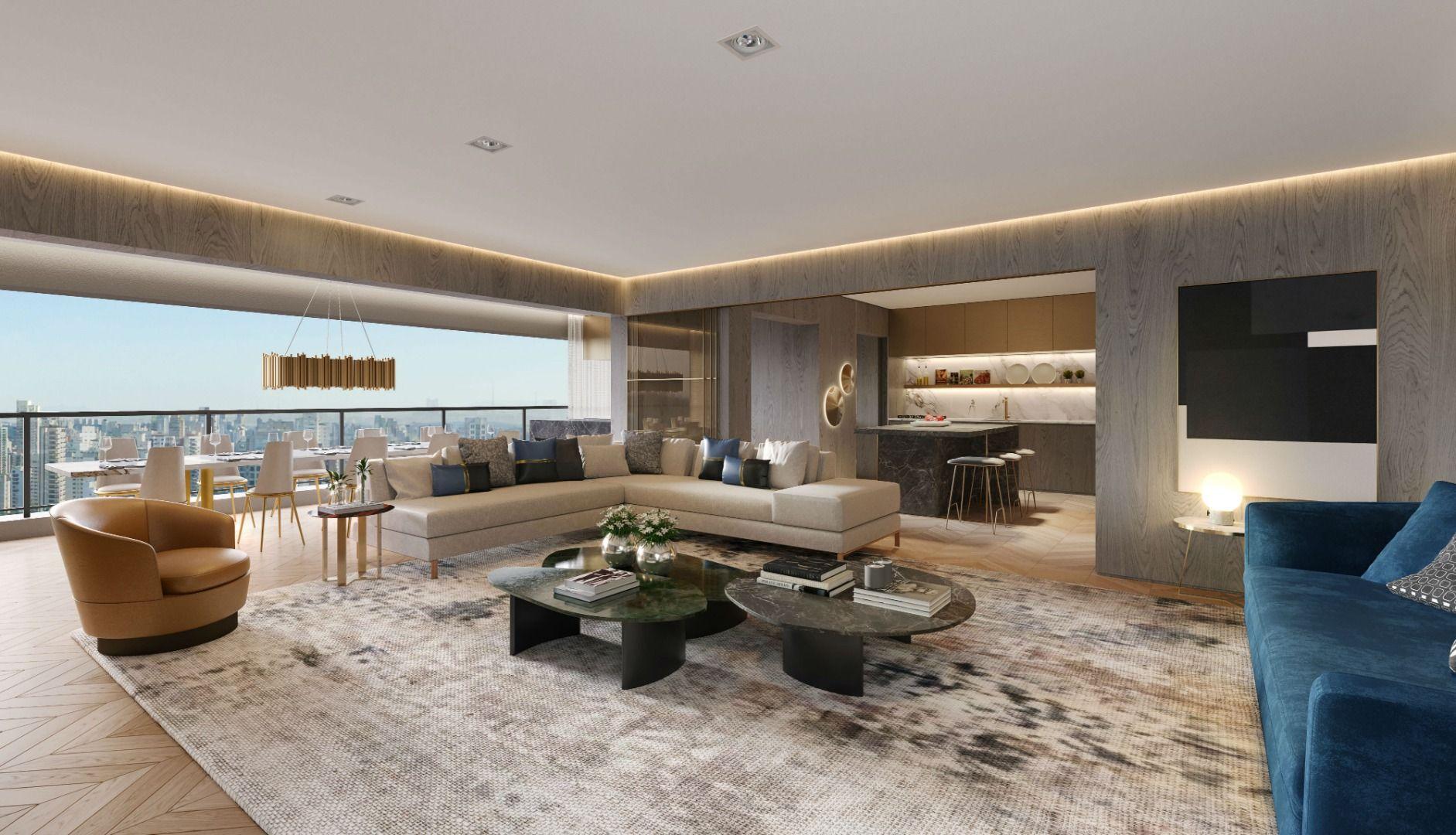 LIVING do apto de 158 m² com opção de sala ampliada, proporcionando maior área social. Total integração com o terraço gourmet, que possui mais de 8 m de frente.