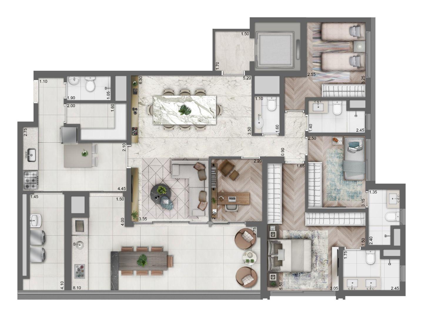 158 M² - 4 DORMITÓRIOS, SENDO 2 SUÍTES. Apartamentos na Vila Clementino com amplos quartos e suíte master com closet e banheiro com 2 cubas. Conta com condicionamento acústico e infra para ar-condicionado no living e nos dormitórios.